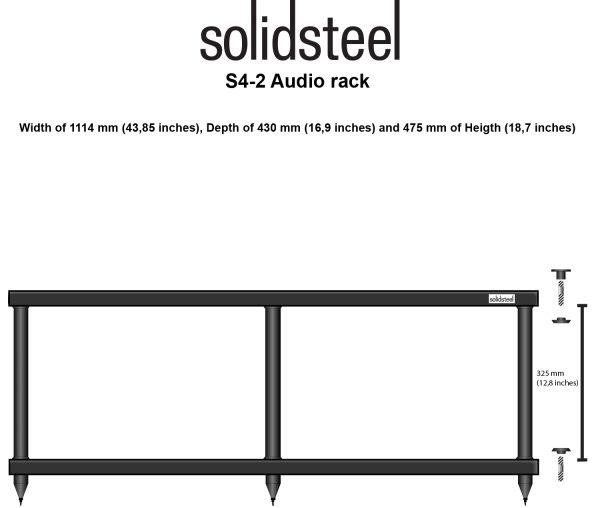 Mobile hi fi porta elettroniche Solidsteel S4-2 dimensioni